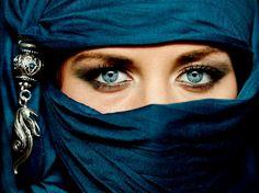 Photo about Portrait of an arabic young woman with her beautiful blue eyes in traditional islamic cloth niqab. Image of closeup, burka, head - 26539453 Niqab, Muslim Girls, Muslim Women, Blue Eye Facts, Facts About Blue Eyes, Brown Eyes Facts, Cheb Mami, Islam, Arabian Women