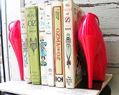 """smart """"re-purposed pumps"""" bookends"""