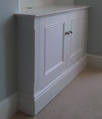 Skirting base alcove cabinet with panel mould detail doors & Skirting base alcove cabinet with panel mould doors Hallway Cupboards, Alcove Cupboards, Hallway Cabinet, Built In Cabinets, Alcove Storage, Bookcase Storage, Tall Cabinet Storage, Bookshelves, Alcove Shelving