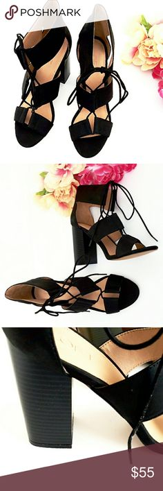 """!Just In! Loft Criss Cross Laced Block Heel Only the most popular & versatile sandals for the season!  Boho black to pair with dresses to jeans. Extended ankle lends a bootie look. Big chunky heel (aprox. 4.5"""")keeps this sandal fashion forward.  All manmade materials.  Unworn other than try on. *Ask Questions B4 U Buy* LOFT Shoes Sandals"""