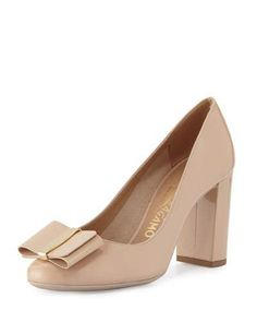 SALVATORE FERRAGAMO ELINDA PATENT BOW 85MM PUMP, NEW BISQUE. #salvatoreferragamo #shoes #pumps