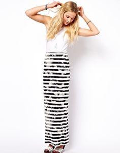 ASOS Maxi Skirt in Grunge Stripe
