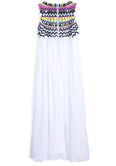 White Pleated Print Round Neck Sleeveless Chiffon Dress