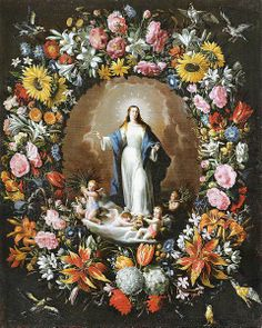 Spanish Baroque Art Garland with the Immaculate Conception Blessed Mother Mary, Blessed Virgin Mary, Religious Icons, Religious Art, Philippe De Champaigne, Virgin Mary Art, Christian Artwork, Baroque Art, Immaculate Conception