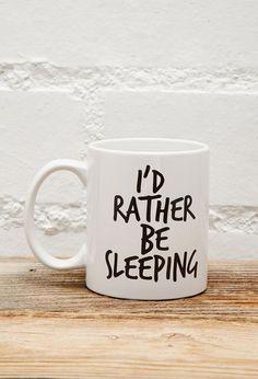 FOREVER 21 Tickled Teal Rather Be Sleeping Mug