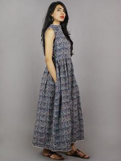 Indigo Red Black Ivory Long Sleeveless Ajrakh Printed Cotton Dress With Pleats & Side Pockets - One Piece Dress, New Dress, Buy Dresses Online, Maxi Gowns, Blouse Styles, Asymmetrical Dress, Cotton Dresses, Red Black, Printed Cotton