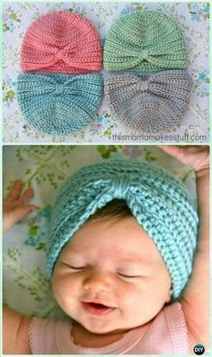 Most current Photo Crochet Hat baby Suggestions Crochet Baby Turban Hat Free Pattern – Crochet Turban Hat Free Patterns Baby Turban, Turban Hut, Crochet Baby Hat Patterns, Baby Girl Crochet, Crochet Baby Clothes, Crochet Baby Beanie, Knitted Baby Hats, Crochet Baby Hats Free Pattern, Knit Hats
