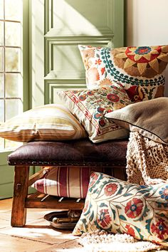 Artisan-made embroidered cushions