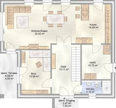 Grundriss stadtvilla 150 qm  Art 155 - mediterraner Stadtvilla Grundriss mit über 150 qm ...