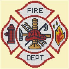 Fire department emblem or badge. Easy stitch using only full stitches! Mini Cross Stitch Pattern: Fire Dept Emblem Design Source: Clipart DMC Floss Colors: 10