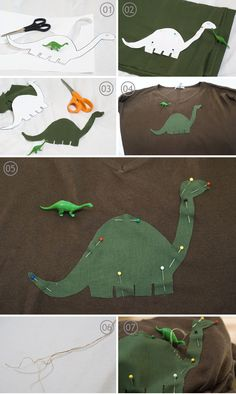 DIY Dinosaur Sweater Appliqué with template by Anita on Squirrelly Minds