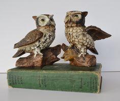 Antique owl figurines   Vintage Owls Vintage Pair of Owl Figurines by JudysJunktion