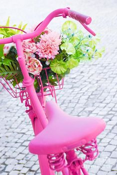 Photo about Detail of a pink painted bicycle with a basket with flowers and leaves. Image of petals, garden, bicycle - 16006146 Pink Bike, Rosa Pink, Bicycle Painting, Parasols, Girly, I Believe In Pink, Get Well Cards, Everything Pink, Color Rosa