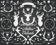 黒板クリップアート:大きな黒板クリップアート含む黒板矢印バナークラウン鹿と他のチョークの要素 by DigiWorkshop