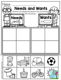 Needs and Wants- Parents will love you for this one!  Shopping can be made so much easier just by teaching children the basics of needs versus wants. This one is in the Summer Review NO PREP Packet for Preschool, along with TONS of hands-on activities to keep children learning during the summer months.