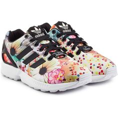 Adidas Originals ZX Flux Sneakers featuring polyvore, women's fashion, shoes, sneakers, florals, cushioned shoes, colorful shoes, floral shoes, colorful sneakers and flower print sneakers