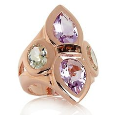 Rarities: Fine Jewelry with Carol Brodie 6.58ct Amethyst and Smoky Quartz Rose Vermeil Ring at HSN.com.