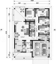 Rzut parteru projektu Kordian Rex - murowana – beton komórkowy Bungalow, House Plans, Floor Plans, Flooring, How To Plan, Building, Plants, Projects, Blueprints For Homes