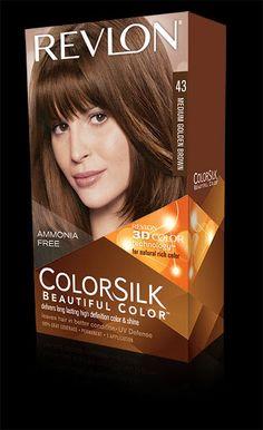 Revlon® ColorSilk Beautiful Color™. LONG LASTING, MULTI-DIMENSIONAL COLOR AND SHINE. My Shade: 43 MEDIUM GOLDEN BROWN.