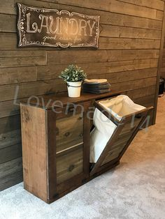 Your place to buy and sell all things handmade Birch Cabinets, Cupboards, Repurposed Furniture, Furniture Ideas, Tilt Out Laundry Hamper, Diy Storage, Cabinet Doors, Mud