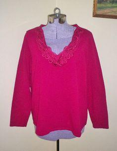 Women's Plus Sz 1X St. John's Bay Blouse Top Shirt Tunic Lace V-Neck…