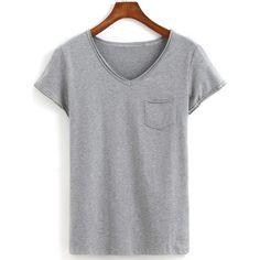 V Neck With Pocket Grey T-shirt (215 MXN) ❤ liked on Polyvore featuring tops, t-shirts, shirts, grey, tees, gray shirt, short sleeve tee, v neck t shirts, stretch t shirt and short-sleeve shirt