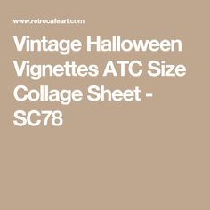 Vintage Halloween Vignettes ATC Size Collage Sheet - SC78