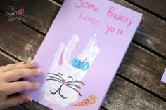 "Some ""bunny"" loves you hand print Easter cards ~ The Mother Huddle"