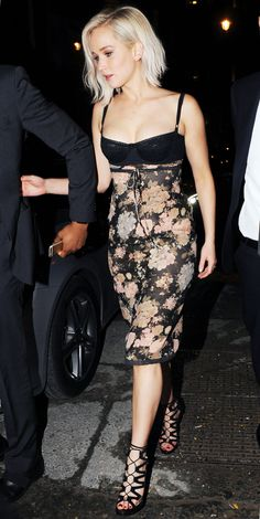 Jennifer Lawrence hit London's nightclub circuit in a sexy dress Monday evening.