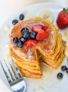 Celebrate your beautiful fall mornings with something warm, something sweet. Here is pumpkin pancakes recipe that makes light, fluffy and super moist pancakes.