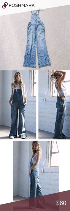 Indigo blue denim wide leg overall Brand new with tag. Size on tag is XS. Jeans Overalls