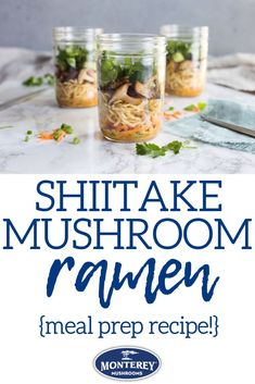 I'm obsessed with this skiitake ramen! This meal prep recipe is easy to make ahead of time, and then you can enjoy ramen in your lunch for the next few days. Best Mushroom Soup, Mushroom Side Dishes, Best Mushroom Recipe, Vegetarian Mushroom Recipes, Spring Recipes, Winter Recipes, Healthy Ramen, Mushroom Appetizers, Diet