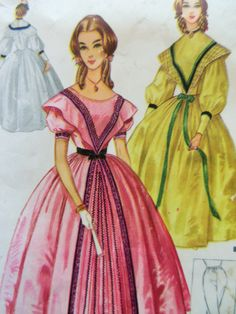 Vintage McCall's 2403 Sewing Pattern, Civil War Dress, Centennial Dress Pattern, Costume Pattern, Pantalets, Bust 38 - 40, Halloween Costume by sewbettyanddot on Etsy