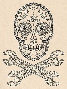 Show off your bike love in style! Wheels, chain, and gears make up an awesome light-stitching skull.
