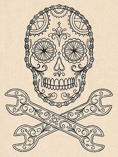 Bike Skull design (UT7808) from UrbanThreads.com