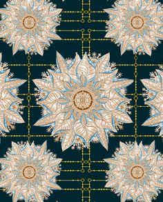 'Byzantine – Deep Teal under Burnished Copper' is inspired by ancient designs of Spain and Malta with bursts of ornamental flora set against a deep teal background. #wallpaper #fabric #design #decoration #interiors #teal #flora