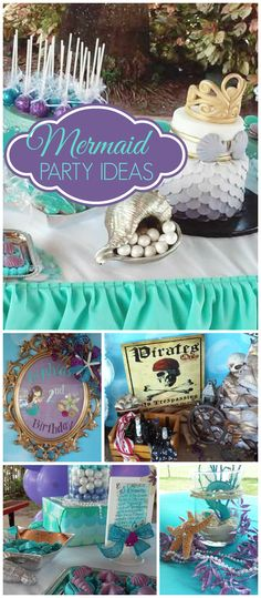 Mermaids and pirates show up at this party! Fantastic decorations! See more party planning ideas at CatchMyParty.com!