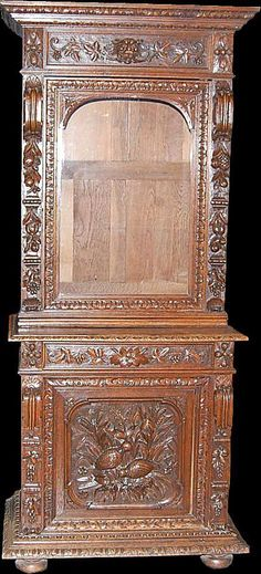 Henri II Oak Hunt Cabinet