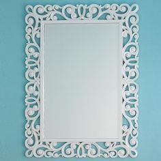 High Gloss Filigree Mirror - Shades of Light Glass Pendant Light, Glass Pendants, Victorian Mirror, Decorative Room Dividers, Small House Interior Design, Cardboard Sculpture, White Mirror, Plate Design, Mid Century Decor
