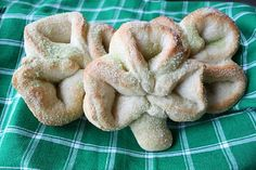 homemade shamrock pretzels. party food for St. Patricks Day party.