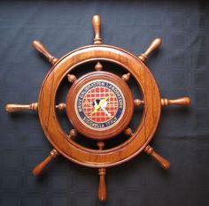Naval Ship Wheel Sigonella Italy Wood Helm Navy Calibration Laboratory Nautical