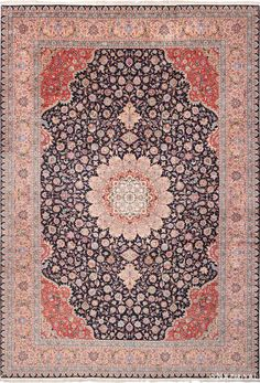 View this finely woven beautiful blue background vintage large wool and silk Persian Tabriz rug #60044 that is available for sale at Nazmiyal Antique Rugs in New York City.