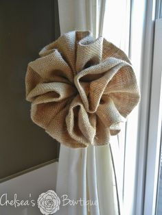 Burlap Curtain Tie Back  85 by chelseasbowtique on Etsy, $25.00
