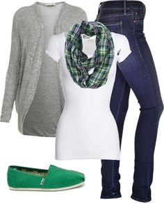 #fall #outfits / Green Plaid Scarf + Grey Cardigan