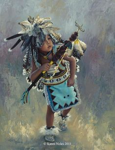 "Native American Paintings | ... "" - 18"" x 14"" Original Oil -Native American Paintings by Karen Noles"