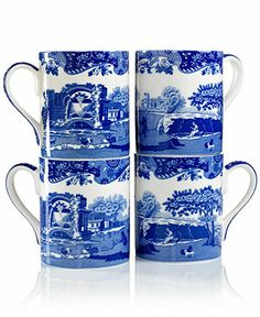 "Spode ""Blue Italian"" Mugs, Set of 4 - - Macy's"