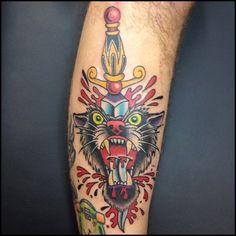 Traditional Panther Dagger Tattooed by Christian Lain, Pinnacle Tattoo, Corpus Christi, TX. Calf Tattoo, I Tattoo, Life Tattoos, Cool Tattoos, Traditional Dagger Tattoo, Tattoos With Meaning, Tattoo Shop, Tattoo Studio, Watercolor Tattoo