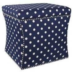 Nailhead-trimmed polka dot storage ottoman with a pine wood frame and foam cushioning. Handmade in the USA. Joss & Main   Product: Storage ...