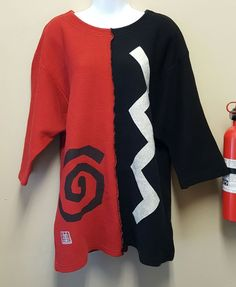 Miyo New York Size 1 S M Red Black White Ribbed Knit Sweater Cotton Asian Theme #Miyo #Tunic #Casual