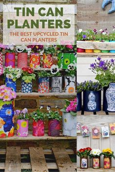 The best tin can planter ideas. Whether you want a vintage, rustic, or glam vibe there is an upcycled tin can planter idea here for you. Upcycled Crafts, Easy Diy Crafts, Diy Craft Projects, Repurposed, Diy For Kids, Crafts For Kids, Art Crafts, Garden Crafts, Garden Projects